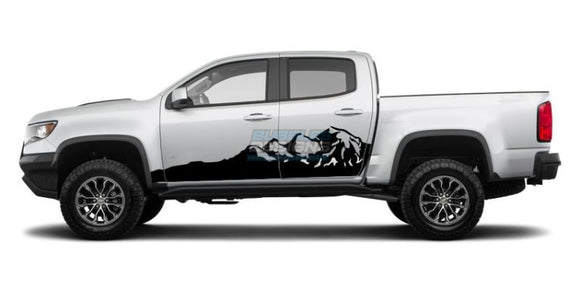 Side door mountains Graphics vinyl design for Chevrolet Colorado decal