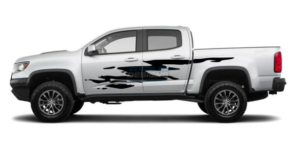 Side Door Splash 1 Decal Graphics Vinyl Design For Chevrolet Colorado 2015 - Present Black Decals /