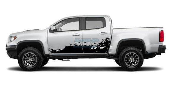 Side Door Splash Decal Graphics Vinyl Design For Chevrolet Colorado 2015 - Present Black Decals /
