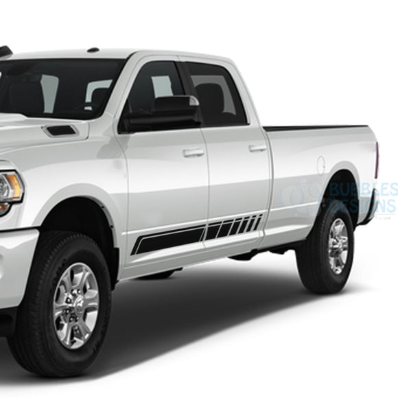 Side Door Stripes Decals Graphics Vinyl For Dodge Ram Crew Cab 3500 Bed 8 Black / 2019-Present Side
