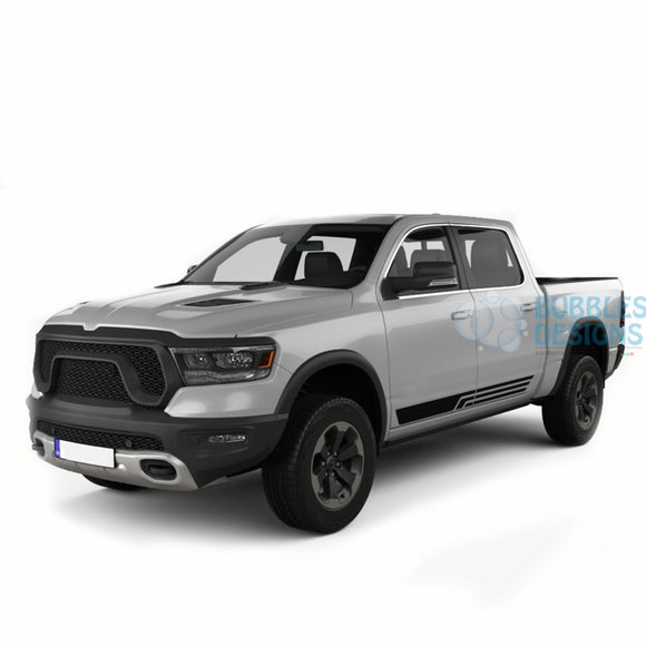 Side Door Stripes Graphics Vinyl For Dodge Ram Crew Cab 1500 Black / 2019-Present Side Door Sticker