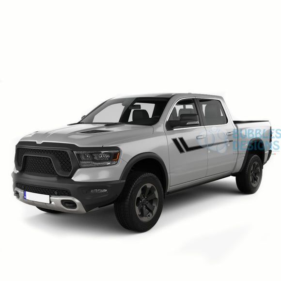 Side Hockey Stripes Decals Graphics Vinyl For Dodge Ram Crew Cab 1500 Black / 2019-Present Side Door