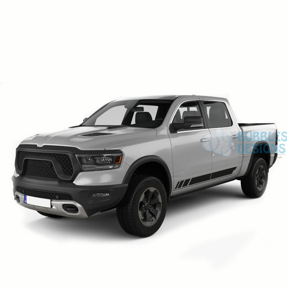 Side Stripes Door Graphics Vinyl For Dodge Ram Crew Cab 1500 Black / 2019-Present Side Door Sticker