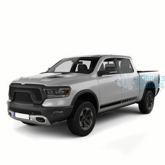 Side Stripes Doors Graphics Vinyl For Dodge Ram Crew Cab 1500 Black / 2019-Present Side Door Sticker