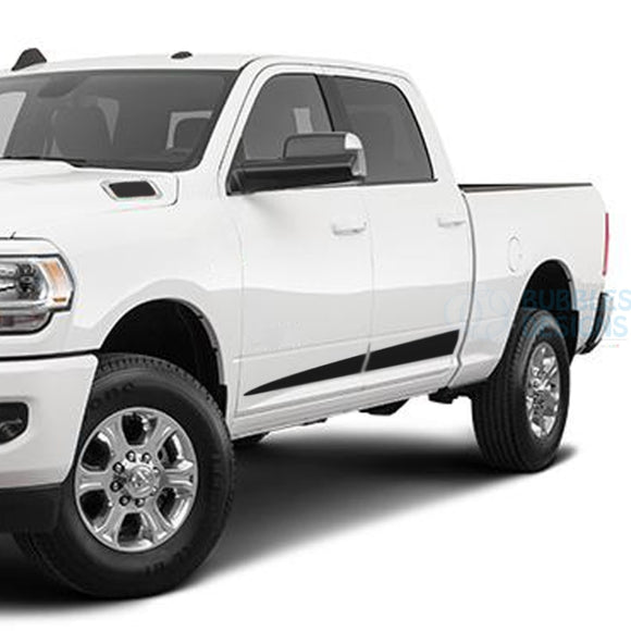 Spear Side Stripes Decals Graphics Vinyl For Dodge Ram Crew Cab 3500 Bed 64 Black / 2019-Present