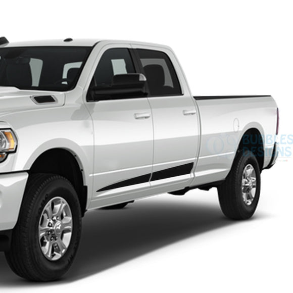 Spear Stripes Side Door Decals Graphics Vinyl For Dodge Ram Crew Cab 3500 Bed 8 Black / 2019-Present