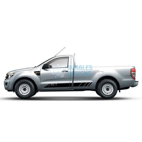 Sticker Vinyl Design For Ford Ranger Regular Cab 2011 - Present Black