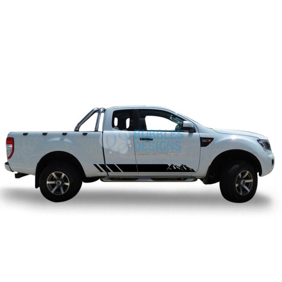 Sticker Vinyl Design For Ford Ranger Super Cab 2011 - Present Black