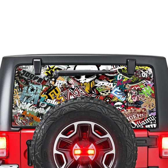 Bomb Skin Perforated for Jeep Wrangler JL, JK decal 2007 - Present