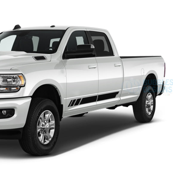 Stripes Door Decals Graphics Vinyl For Dodge Ram Crew Cab 3500 Bed 8 Black / 2019-Present Side Door