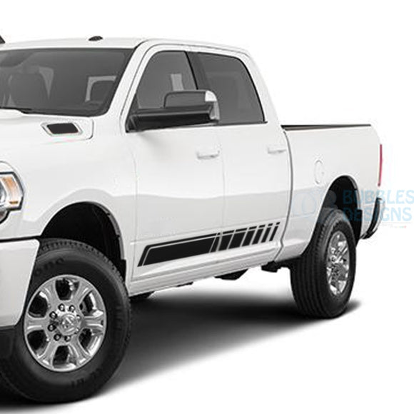 Stripes Side Door Decals Graphics Vinyl For Dodge Ram Crew Cab 3500 Bed 64 Black / 2019-Present Side