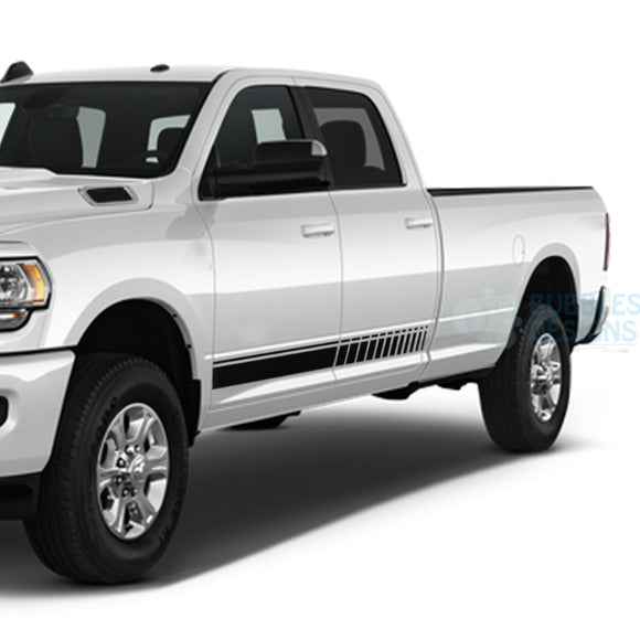 Stripes Side Door Decals Graphics Vinyl For Dodge Ram Crew Cab 3500 Bed 8 Black / 2019-Present Side