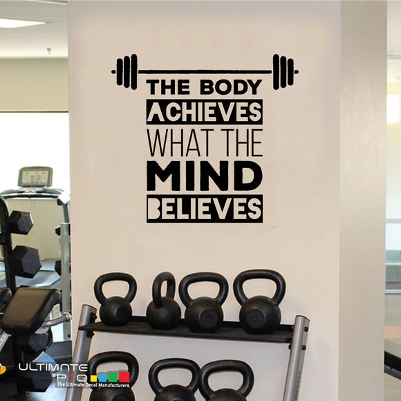 Sticker Decor Ideas for gym Quotes Motivation The Body Achieves What
