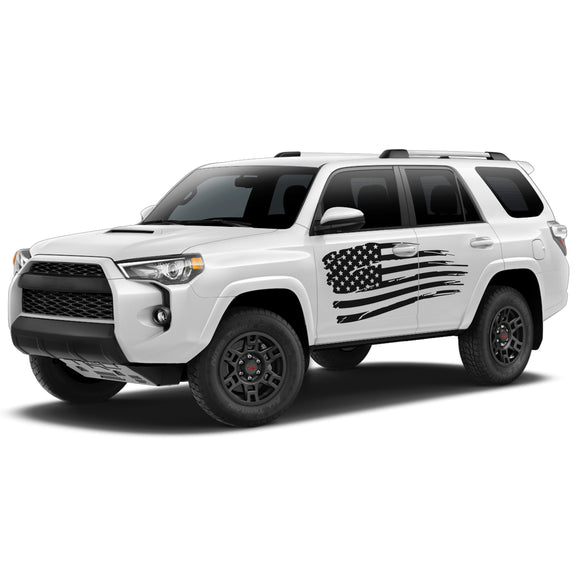 USA Flag Decal Sticker Vinyl Side Stripe Kit Compatible with Toyota 4Runner 2009-Present