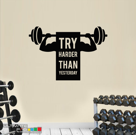 Sticker Decor Ideas for gym Quote Motivation Try Harder Than Yesterday
