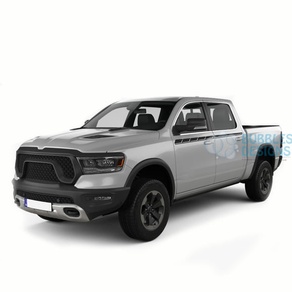 Upper Door Decals Graphics Vinyl For Dodge Ram Crew Cab 1500 Black / 2019-Present Side Door Sticker