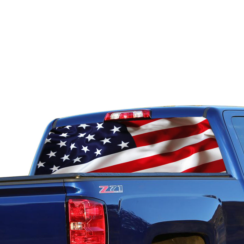 USA Flag Perforated for Chevrolet Silverado decal 2015 - Present