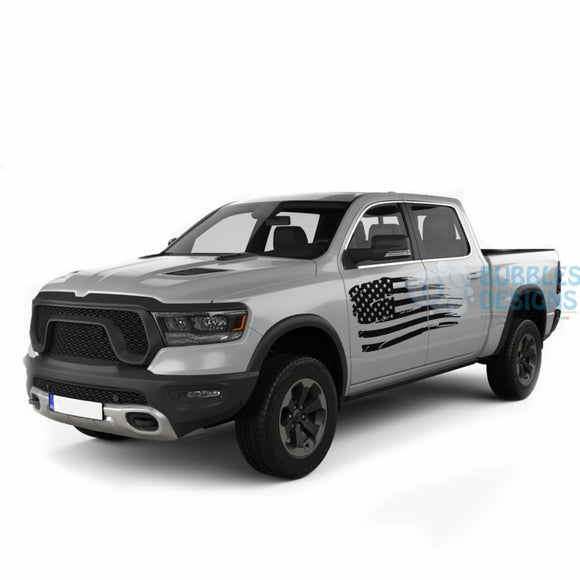 Usa Door Decals Graphics Vinyl For Dodge Ram Crew Cab 1500 Black / 2019-Present Side Door Sticker