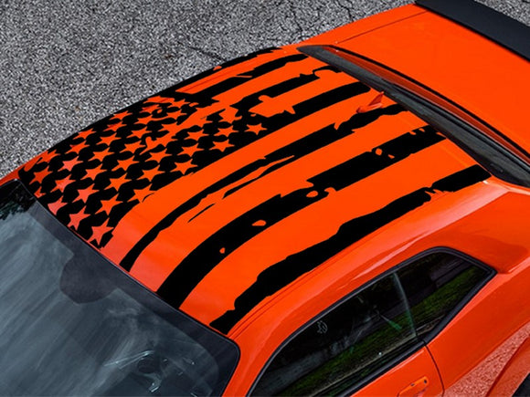 Roof Banner American Flag Style Decal Dodge Challenger US Flag Sticker