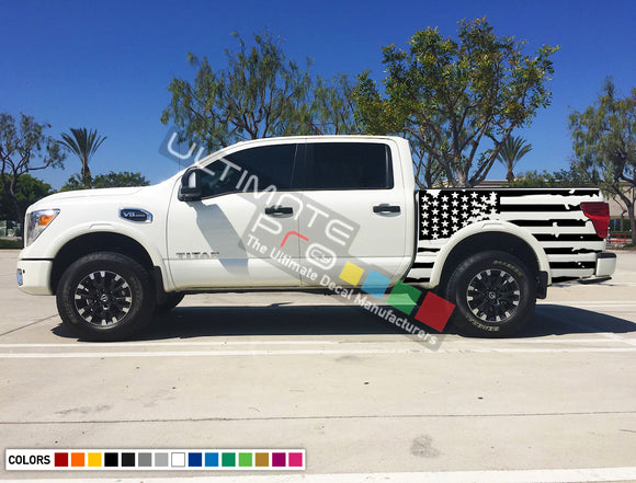 Set of Side Bed American Flag Decal Sticker Graphic Destorder US Flag Compatible with Nissan Titan 2003-2017