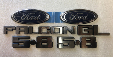 FORD XD BADGE KIT 6 PIECE - FALCON GL 5.8 FORD OVAL