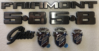 FORD XE BADGE KIT 8 PIECE - FAIRMONT GHIA 5.8 FORD OVAL