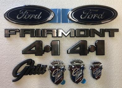 FORD XD BADGE KIT 9 PIECE - FAIRMONT GHIA 4.1 FORD OVAL