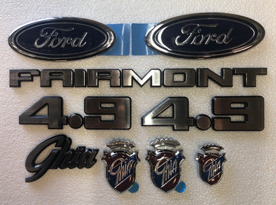 FORD XE BADGE KIT 9 PIECE - FAIRMONT GHIA 4.9 FORD OVAL