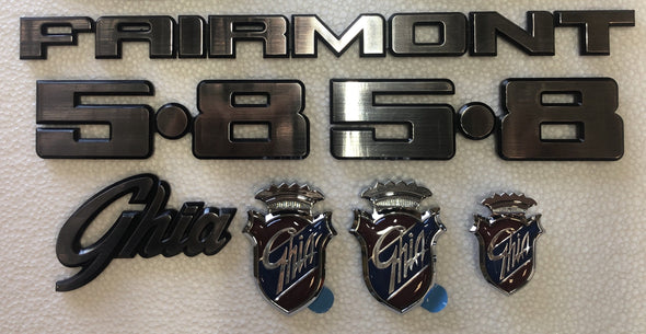 FORD XD BADGE KIT 9 PIECE with ovals - FAIRMONT GHIA 5.8