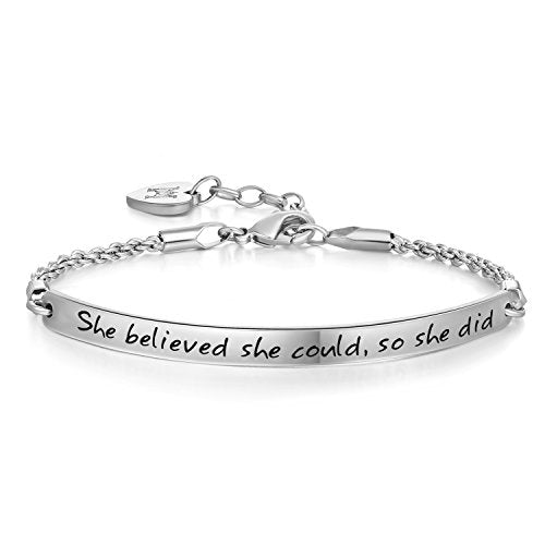 Annamate Engraved Message She believed she could so she did Inspirational Link Chain Bracelet