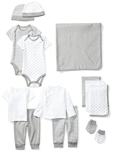 Moon and Back Newborn 14-Piece Organic Playtime Gift Set in Grey Heather