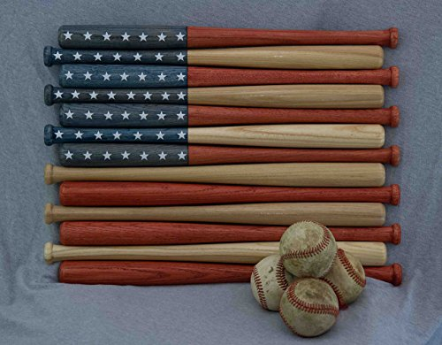 American flag made out of 18-inch baseball bats. Rustic / aged / vintage