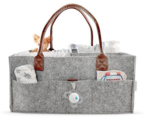 Lily Miles Baby Diaper Caddy | Nursery Diaper Tote Bag | Large Portable Car Travel Organizer | Baby Shower Gift Basket | Newborn Registry Must-Haves