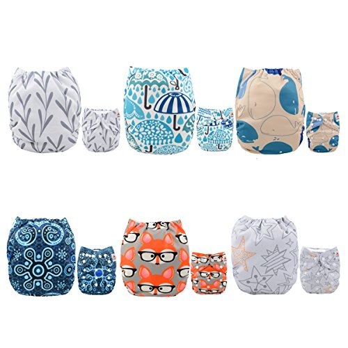 ALVABABY Pocket Reusable Washable Cloth Diapers, One Size Fits Most