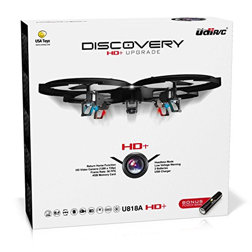 Remote Control Drones with 720P Camera – RC HD U818A Discovery Drone Quadcopter for Adults or Kids with Extra Drone Battery