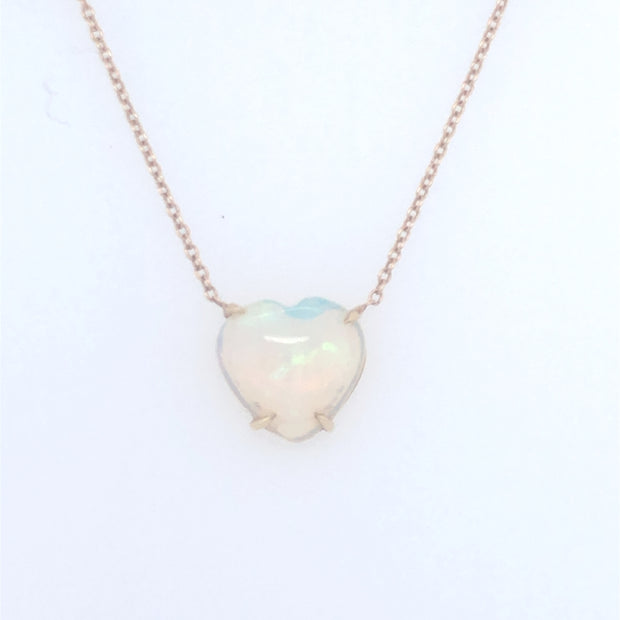 Floating Opal heart necklace