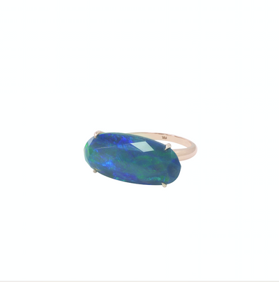 Blue Faceted Blue Opal Ring