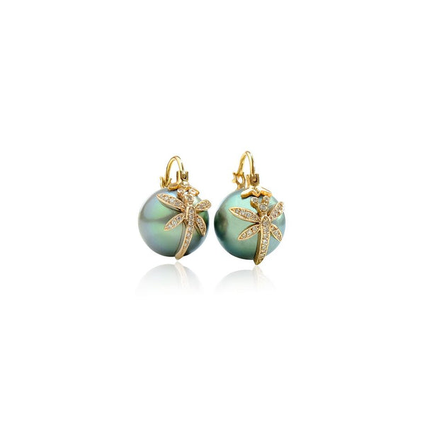 Tahitian Dragonfly Pearl Earrings