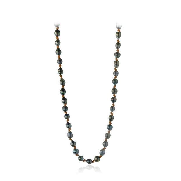 Tahitian Pearl, leather necklace