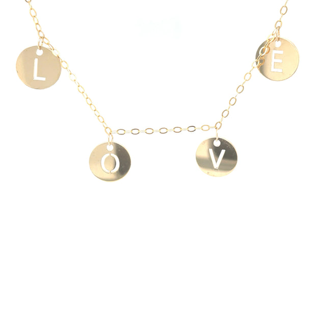 """LOVE"" Initial Charm Necklace"