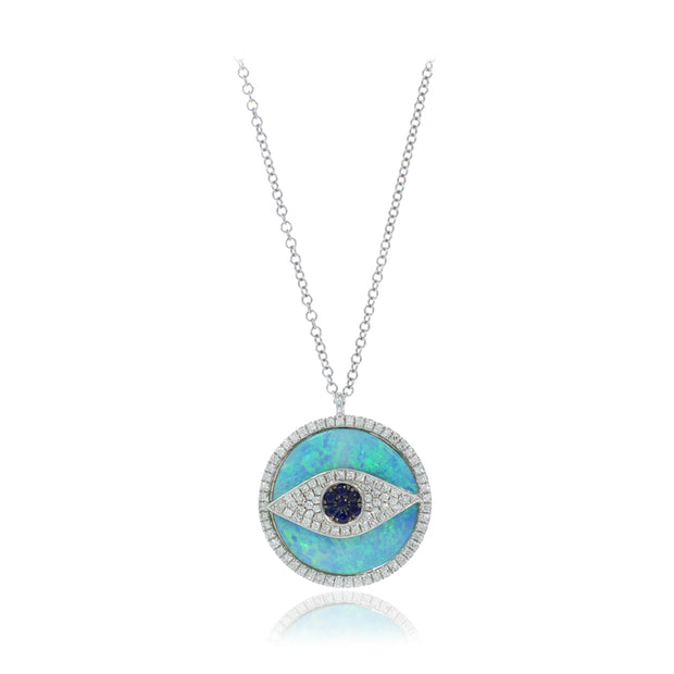 White Diamond Evil Eye Necklace