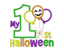 1st Halloween Balloon Applique Design