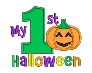 1st Halloween Pumpkin Applique Design