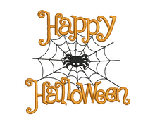 Happy Halloween Spider Web Applique Design