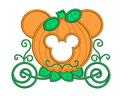Mickey Mouse Pumpkin Carriage Applique Design