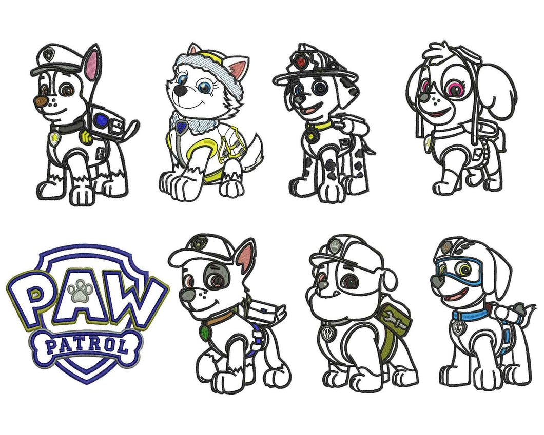 8 Paw Patrol Applique Design
