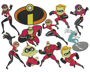 11 The Incredibles Embroidery Design Files