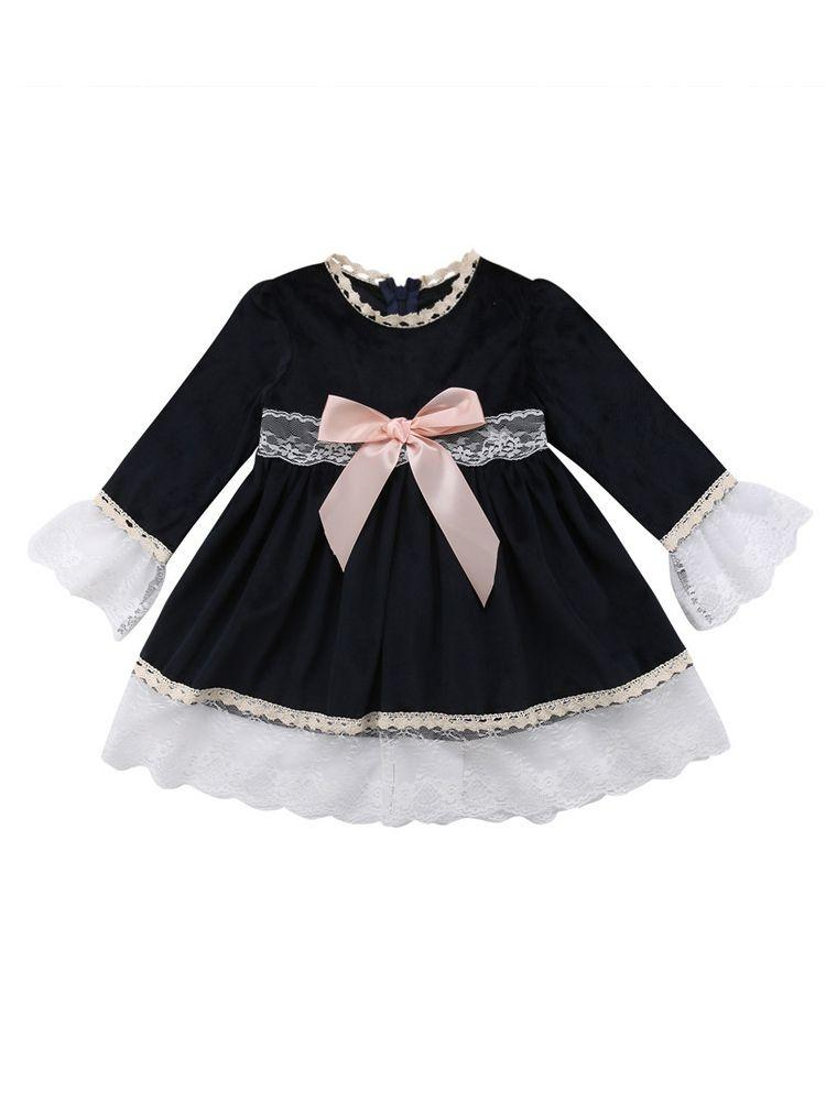 569f7d636 Toddler Baby Girl Spring Autumn Outfit Lace Long Sleeve Denim Dress Mini  Tutu Dresses with Bow