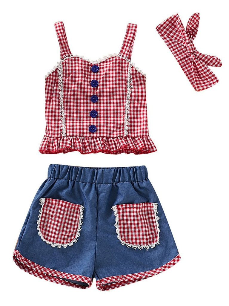 43ea60796 3-Piece Baby Little Girl Clothes Outfit Checked Suspender Top+Shorts + Headband