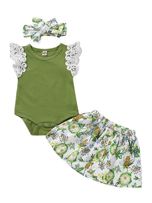 a079362d6 Green is My Favorite Color 3-Piece Summer Baby Outfit Flutter Sleeve Green  Bodysuit +
